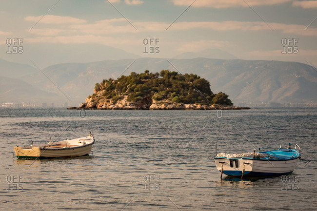 Island and Boats in the Aegean Sea Off the Coast of Nafplio in the Peloponnese