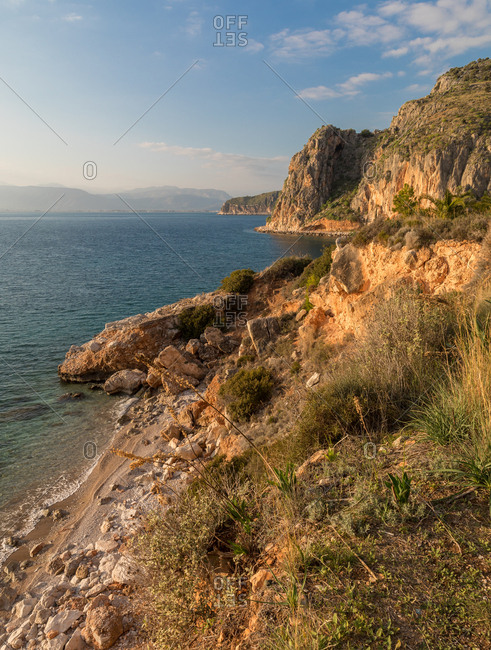 The Coast of Nafplio on the Aegean Sea in the Peloponnese at Sunset
