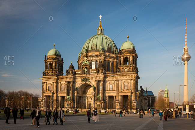 Mitte, Berlin, Germany, Europe - March 19, 2015: The Berlin Cathedral on Museum Island and the Television Tower in the Mitte borough of Berlin
