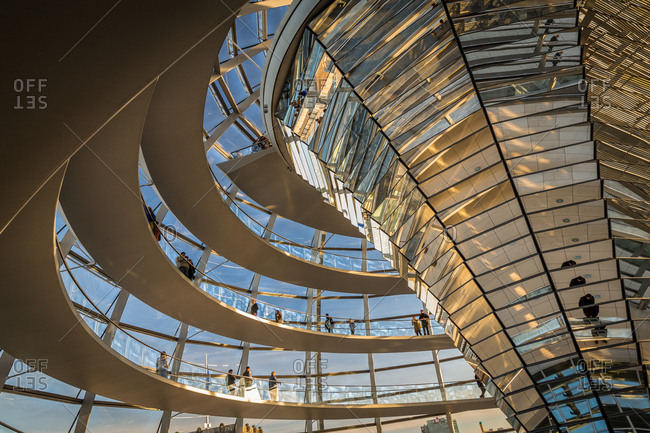 People Visiting the Interior of the Reichstag Building Dome in Berlin