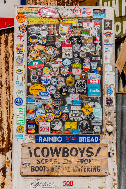Door Covered in Stickers at Hackberry General Store on Route 66