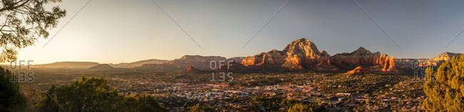 Panorama of the Red Rocky Mountains of Sedona at Sunset from Airport Mesa