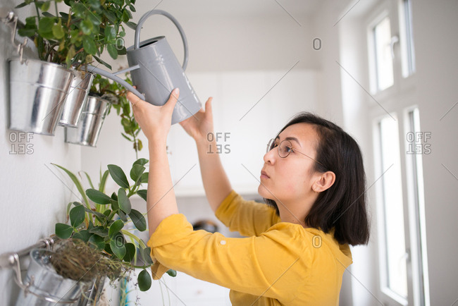 Side view of woman watering plants in her apartment