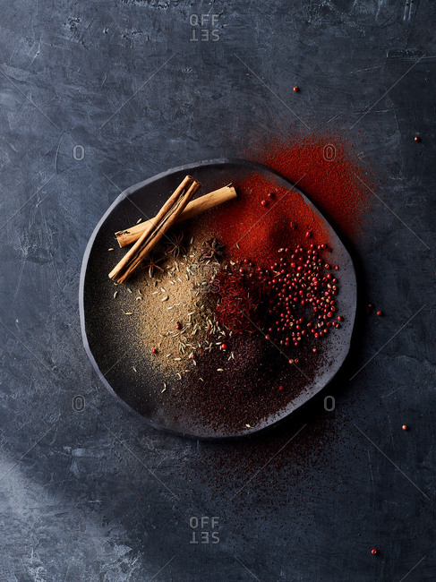 Spices on a stoneware plate