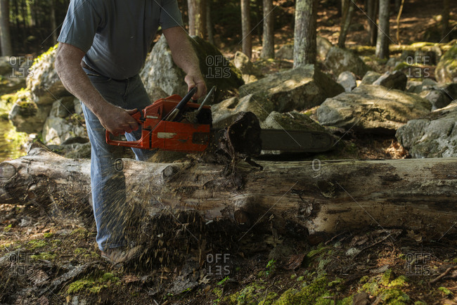 Man cutting a log with a chainsaw
