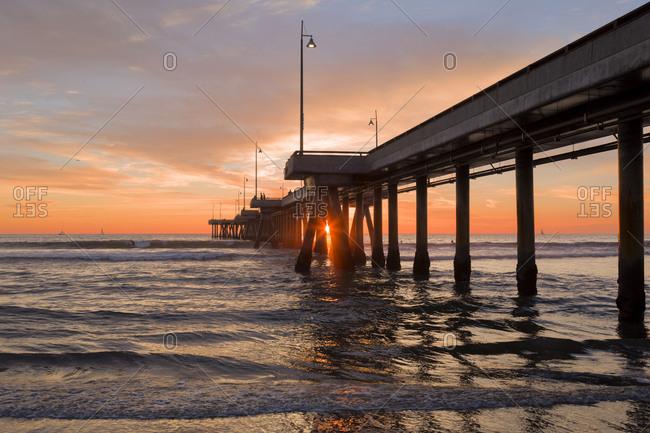 USA- California- Los Angeles- Venice Beach- Venice Beach Pier at sunset