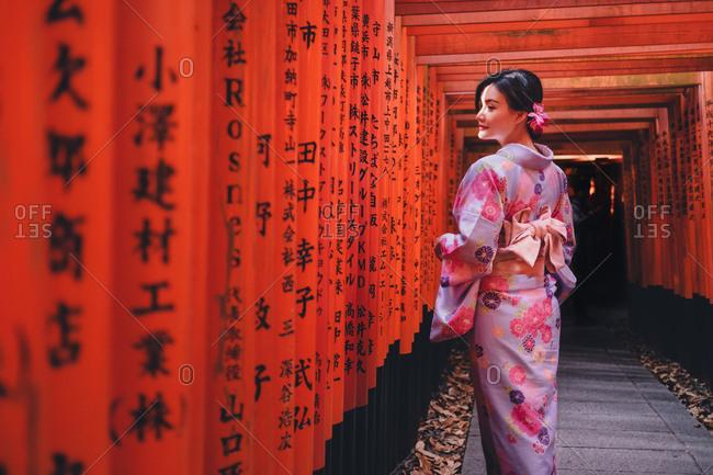Tokyo, Japan - January 26, 2018: Tokyo, Japan - January 19, 2018: Asian woman at red posts