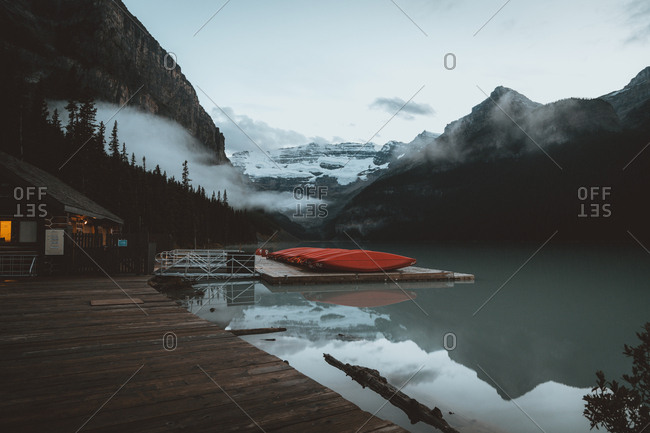 Lake Louise, Alberta, Canada - August 17, 2015: Calm lake in hillside, Banff National Park