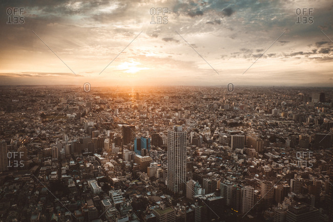 Tokyo, Japan - September 23, 2017: Aerial view to city with skyscraper and small houses in sunset lights