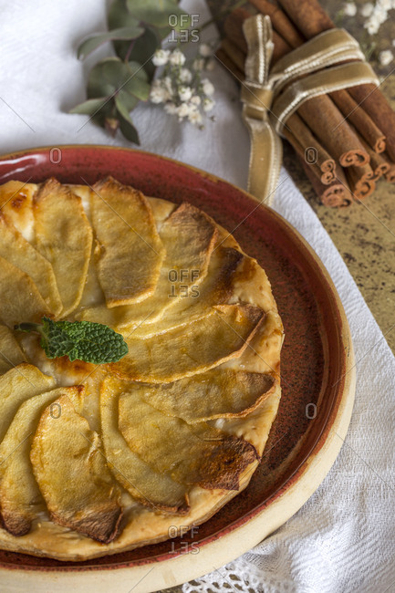 Delicious homemade apple pie In dish