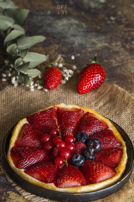 Delicious homemade strawberries pie In dish