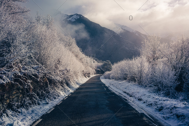 Small road in snowy mountains