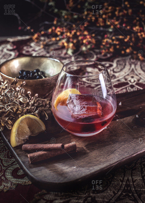 Old fashioned drink on a tablescape