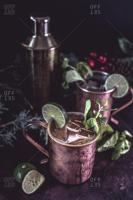Cocktail on a moody tablescape