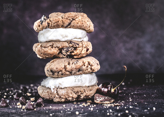 Chocolate chunk and cherry cookie sandwich