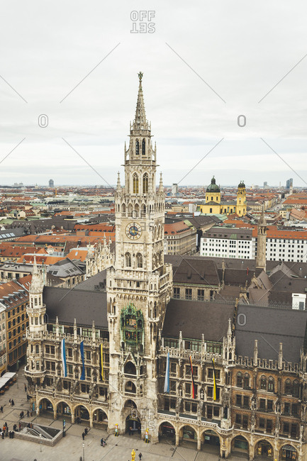 Munich, Germany - January 28, 2018: Aerial view of the New City Council building