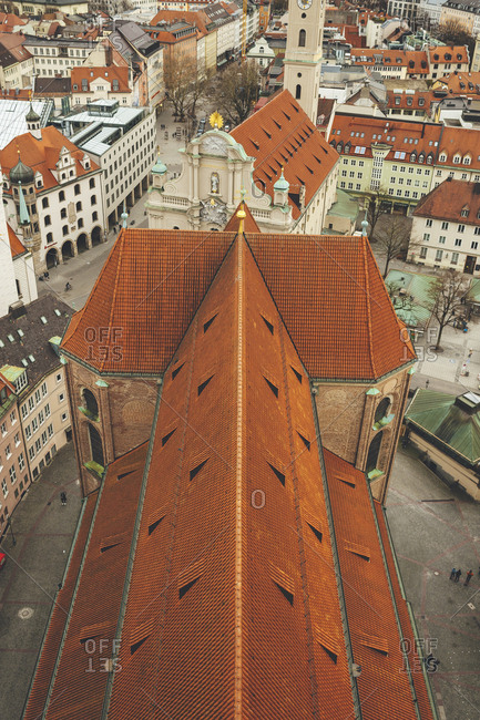 Munich, Germany - January 28, 2018: Aerial view of Saint Peter's Church's roof