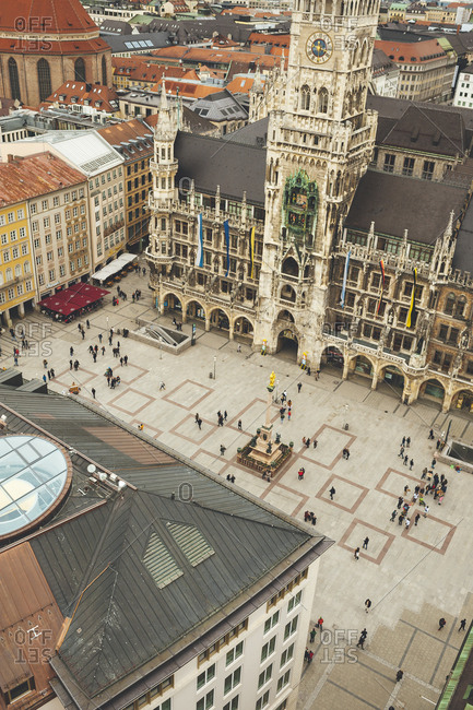 Munich, Germany - January 28, 2018: Aerial view of people in Marienplatz Square