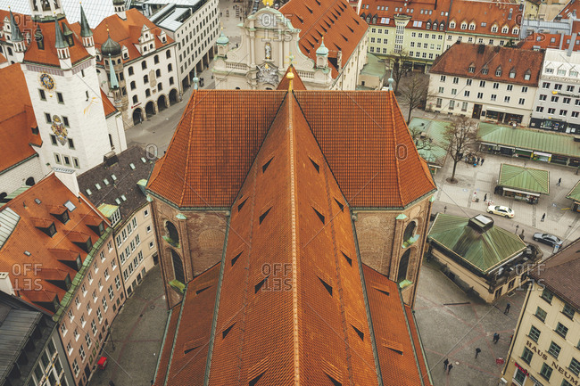 Munich, Germany - January 28, 2018: Aerial view of Saint Peter's Church's rooftop