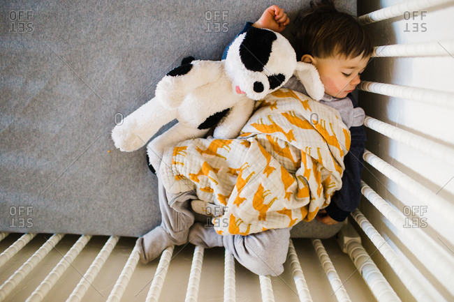 Toddler curled up in crib corner for quiet nap
