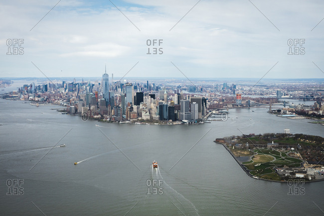 Aerial view of financial district with river, Manhattan, New York City, USA