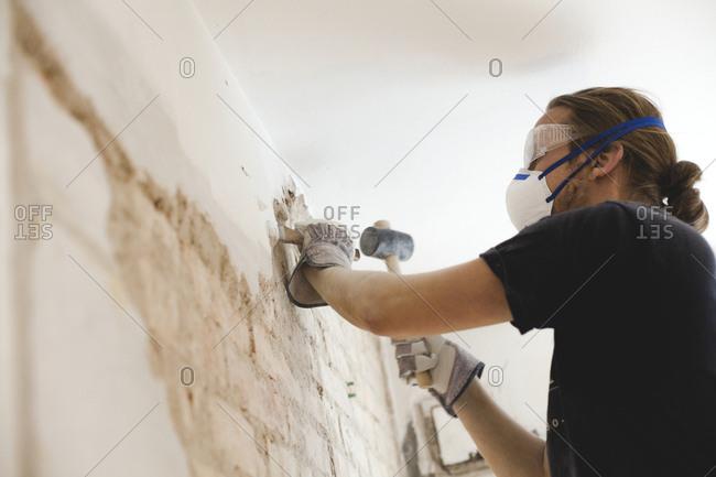 Man renovating walls