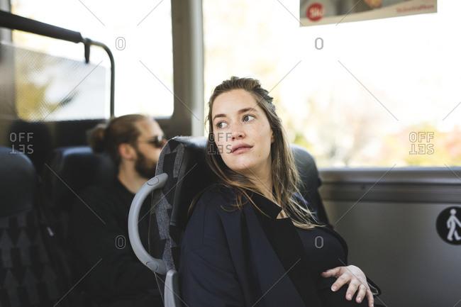 Woman on public transport
