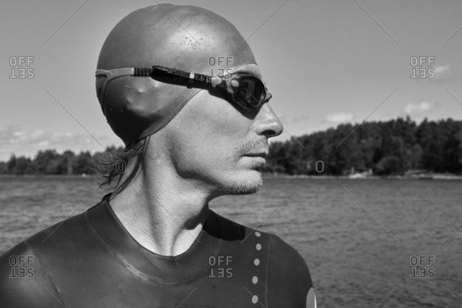 Man in swimming cap