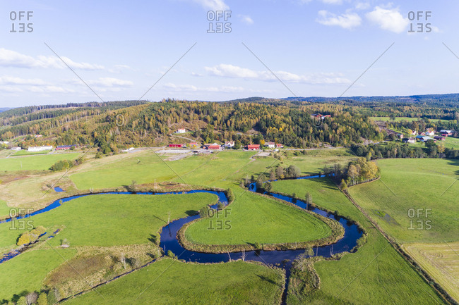 Rural landscape with winding river