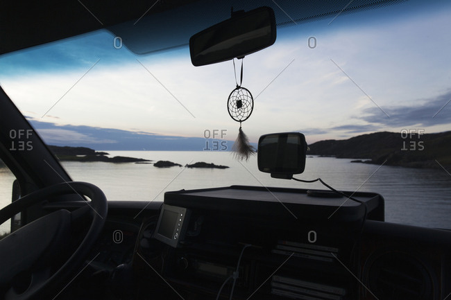 View at sea through windshield