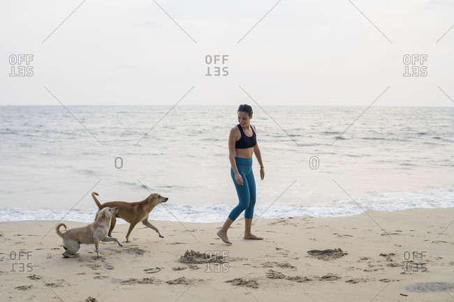 Woman with dogs on beach