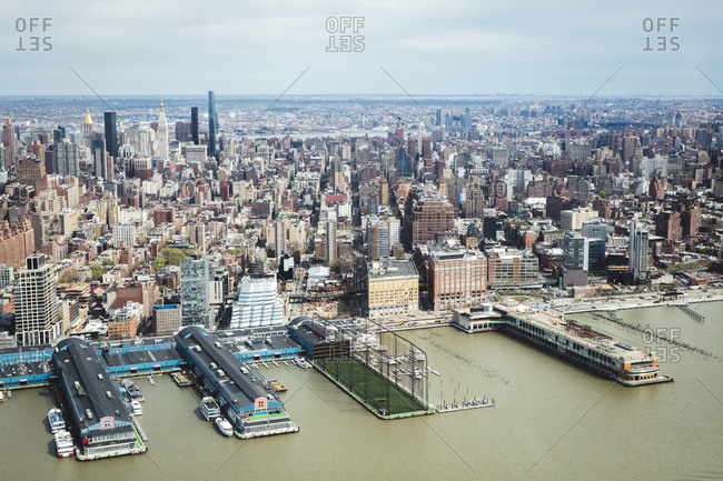 New York, NY - April 17, 2017: Aerial view of city with harbor