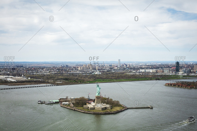 April 17, 2017: Aerial view of Liberty Island with Statue of Liberty, New York City, USA