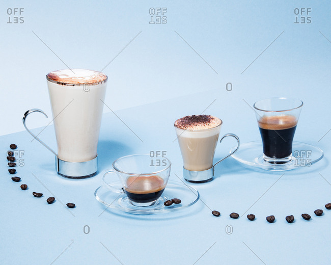 Contemporary still-life of assorted brewed coffee