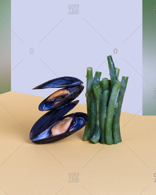 Pop-art display of oysters and asparagus