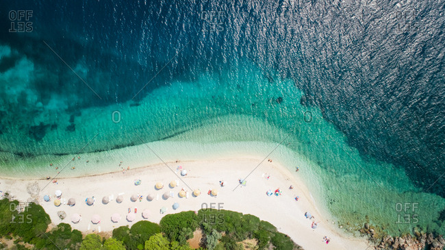 Aerial view of a beach on Agios Ioannis, Greece.