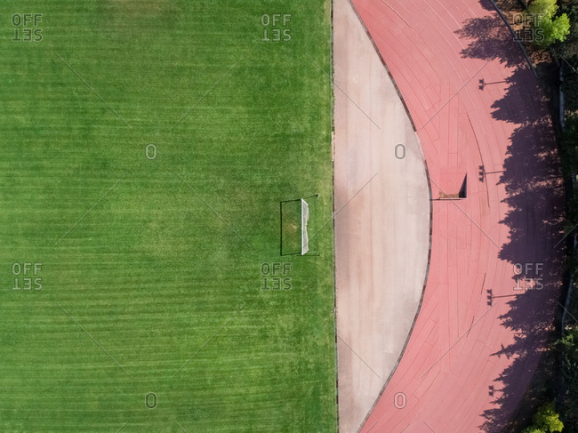 Aerial view of field and running track.