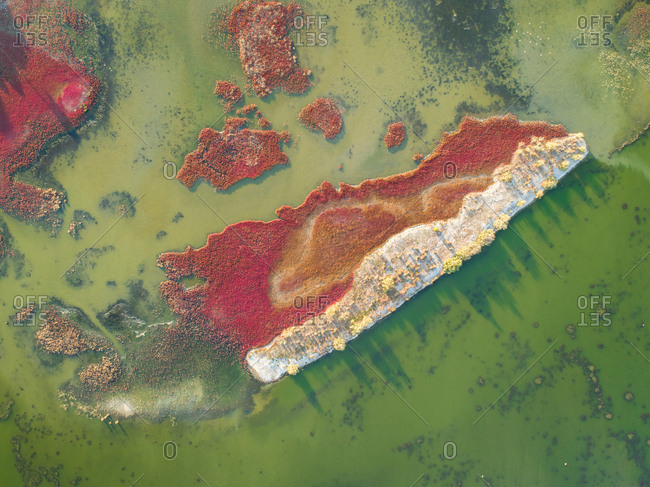 Aerial view of Kalogria lagoon Lagoon, Greece.