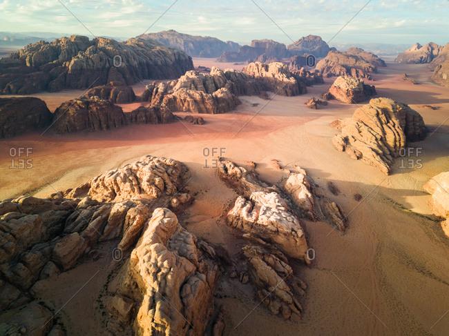Aerial view of the desertic landscape of  Wadi Rum in Jordan.