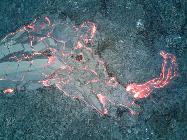 Aerial view of abstract forms created by lava of the continuously active basaltic shield volcano Erta Ale in Ethiopia.