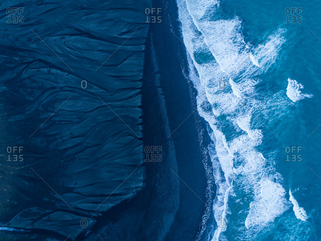 Aerial view of black sand on Diamond Beach in Iceland.