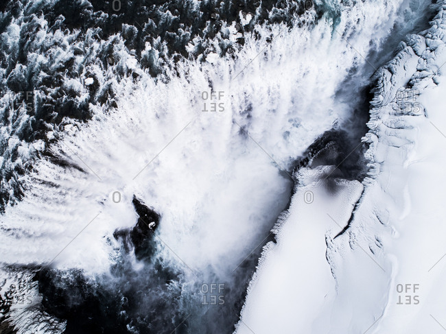 Aerial view of Dettifoss waterfall coming from the nearby Vatnaj_kull glacier, Iceland.