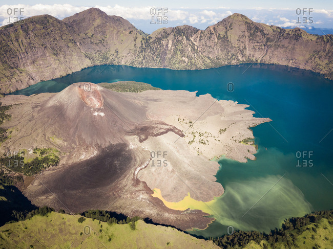 Aerial view of the crater lake of Volcano Rinjani on the island of Lombok in Indonesia.