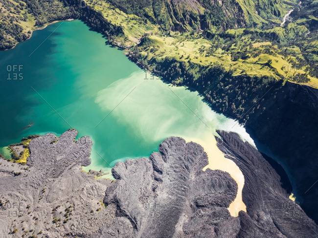 Aerial view of magma on the lake of Mount Rinjani on the island of Lombok in Indonesia.