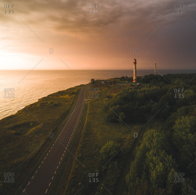 Aerial photography of two lighthouses on the coast of the Baltic sea in Estonia.