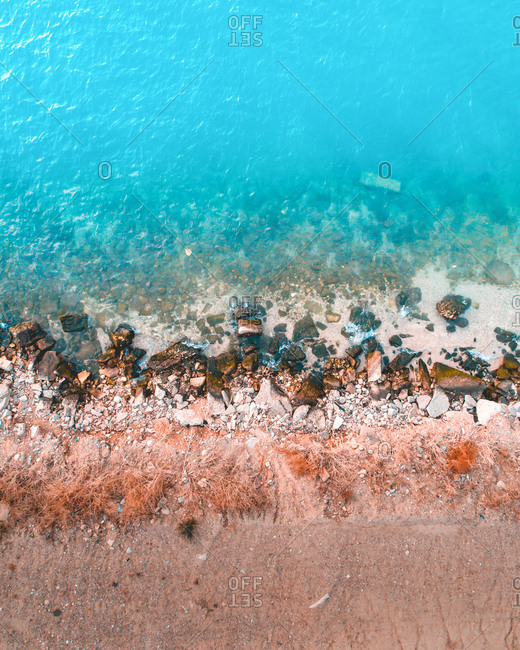 Aerial photography of beach in  Greek island.