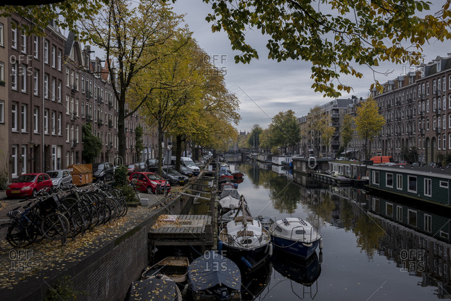 Amsterdam, Netherlands - October 30, 2016: Amsterdam canal in the morning