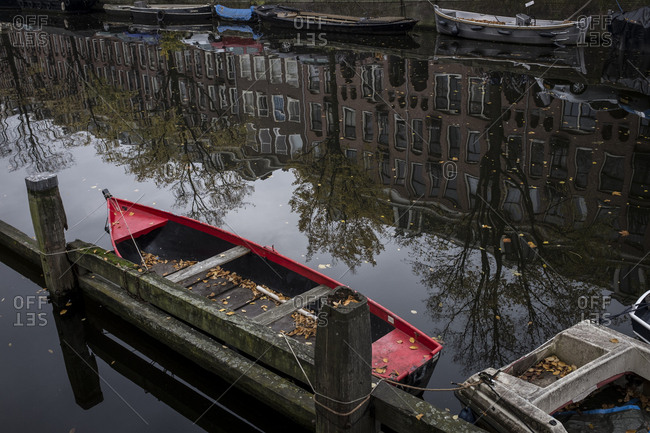 Amsterdam, Netherlands - October 30, 2016: Boat on Amsterdam canal
