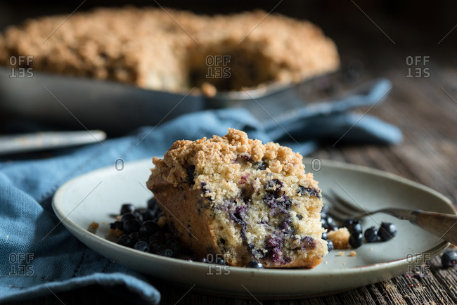Wild blueberry crisp on plate