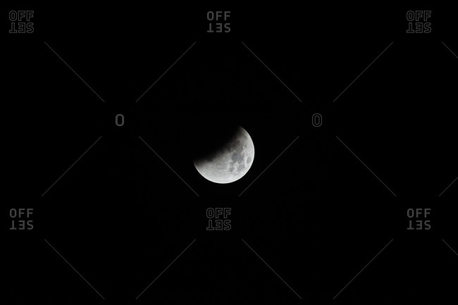 Partial view of moon during lunar eclipse